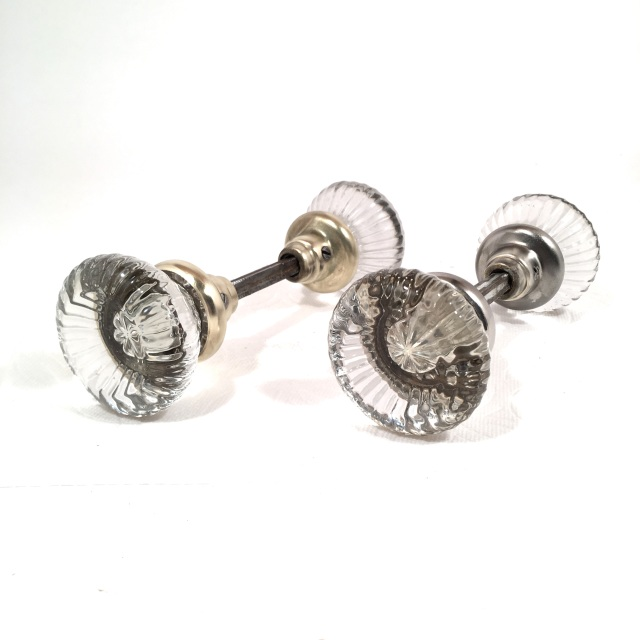 Pair Antique Ribbed Glass Door Knobs