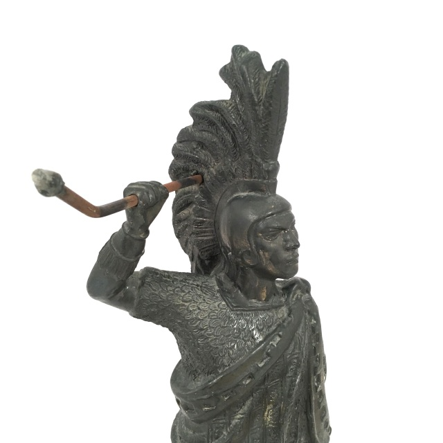 Roman Pewter Statue Standing On Stone Base