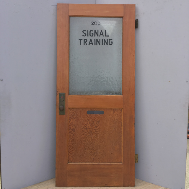 "Solid Fir Half Glass Door W/ Hardware ""Signal Training"""
