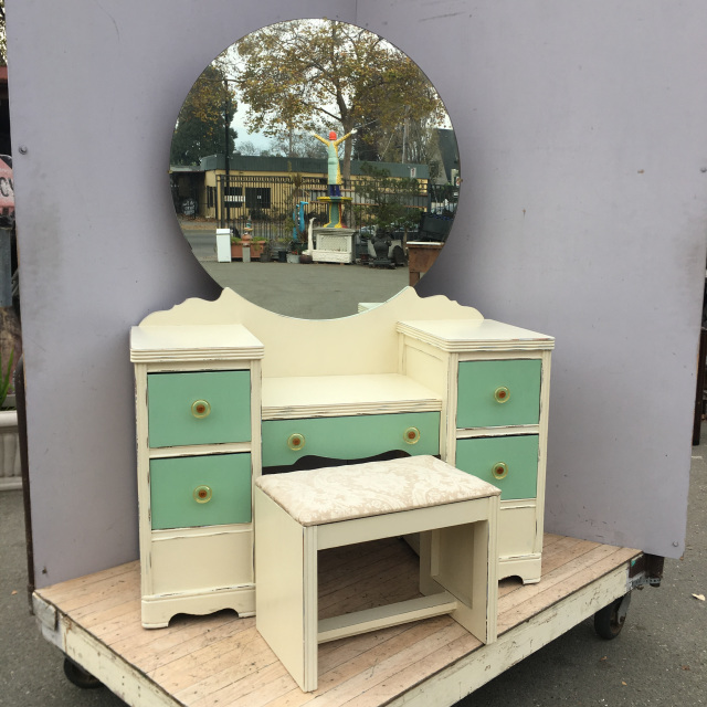 Chalk Painted Vanity W Side Table Amp Stool