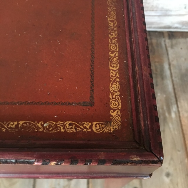 Vintage Side Table W Tooled Leather Top
