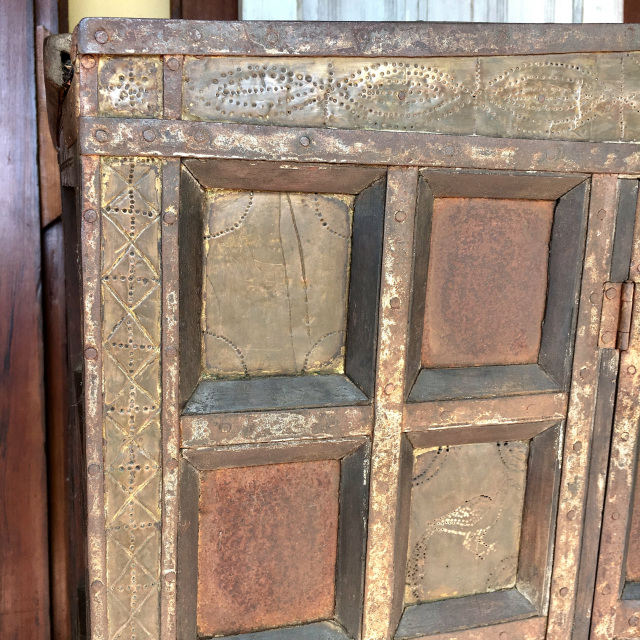 Balinese Cabinet W Stippled Copper Accents