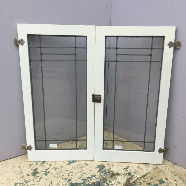 Salvaged stained glass pair craftsman leaded glass cabinet doors planetlyrics Gallery