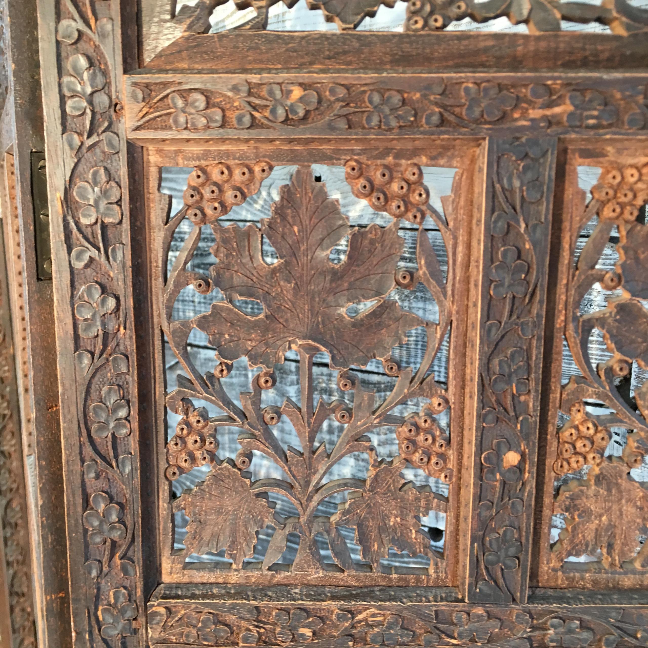 Antique Hand Carved Wood Screen Grape Leaf Motif