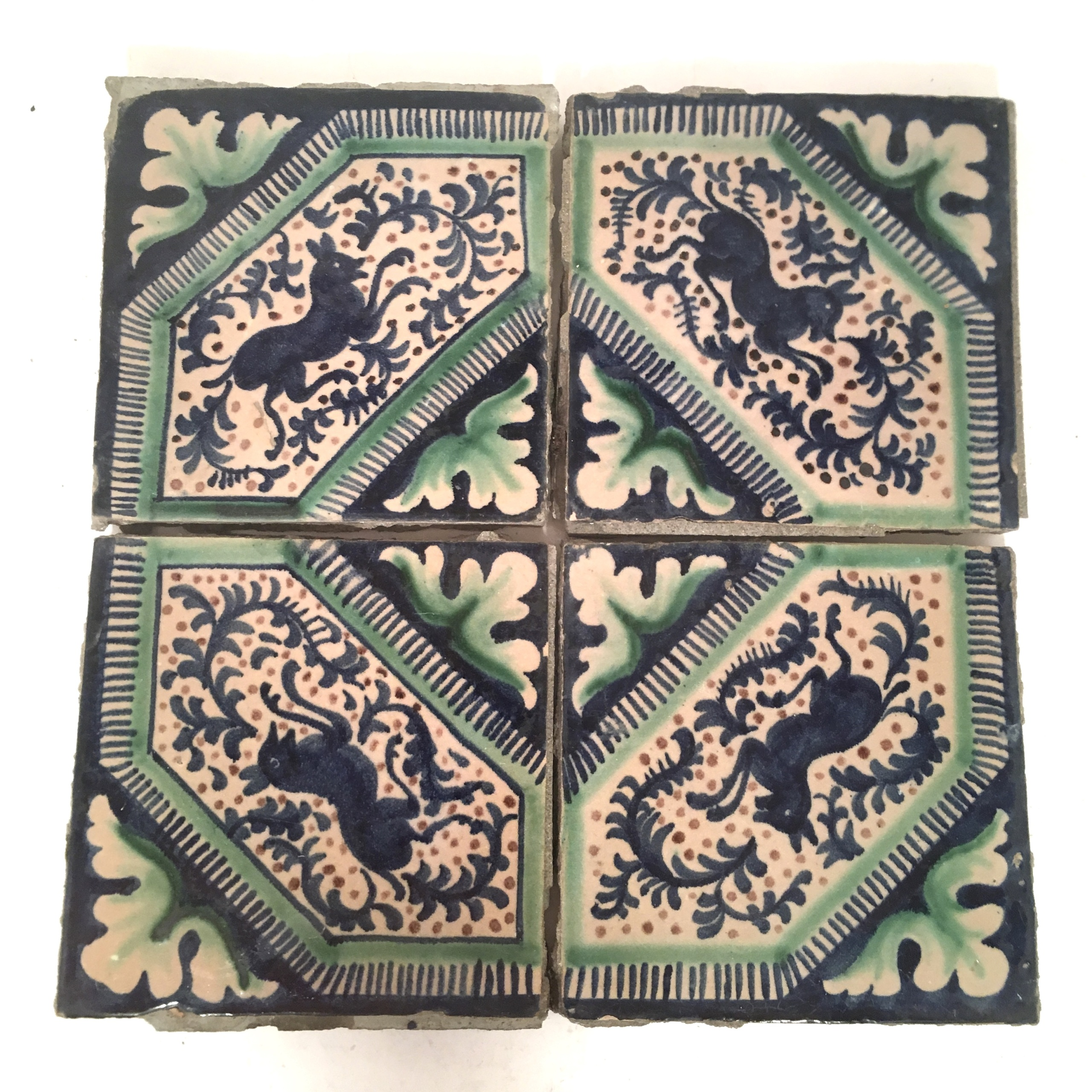 Antique Hand Painted Italian Tile