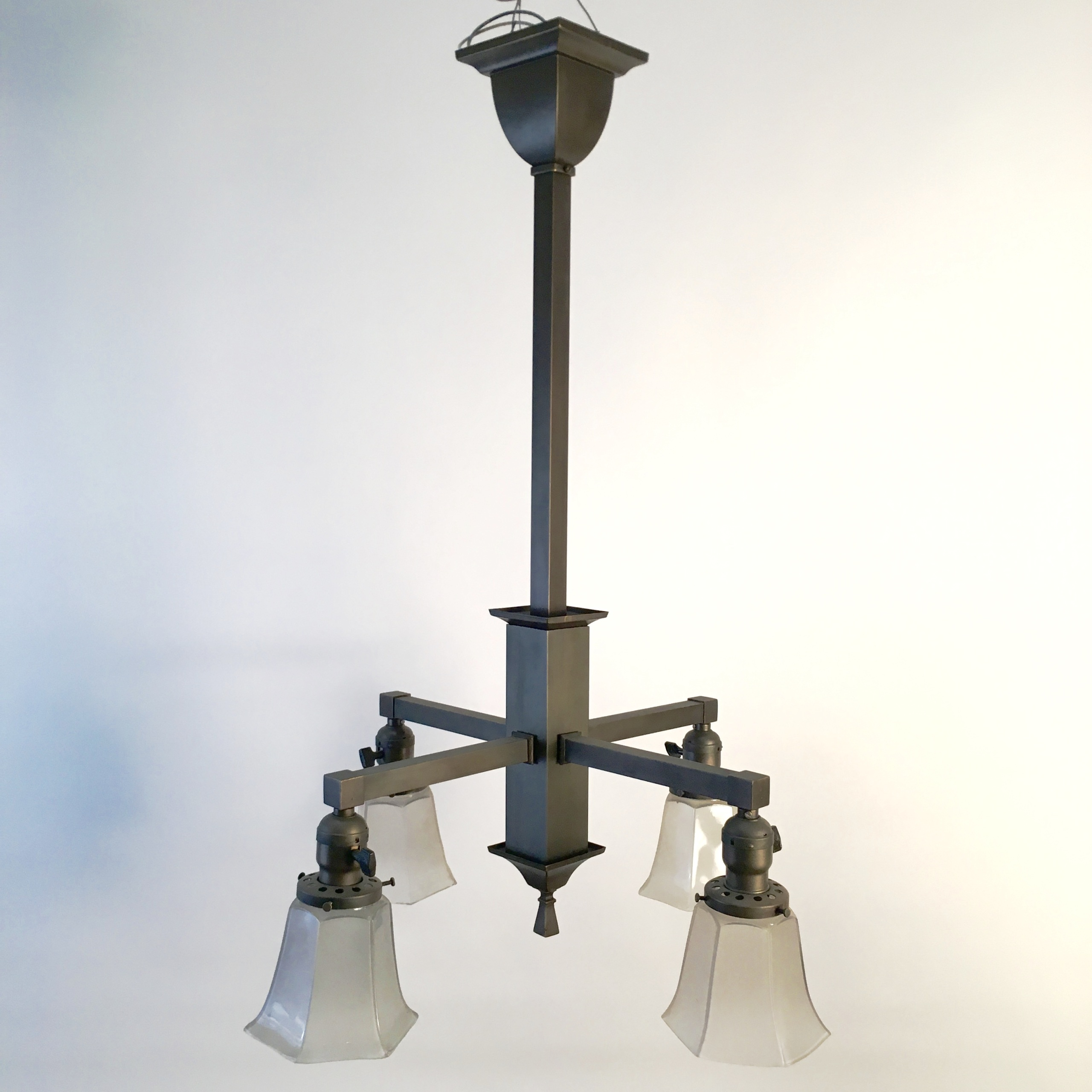4 Arm Down Light Craftsman Chandelier SOLD