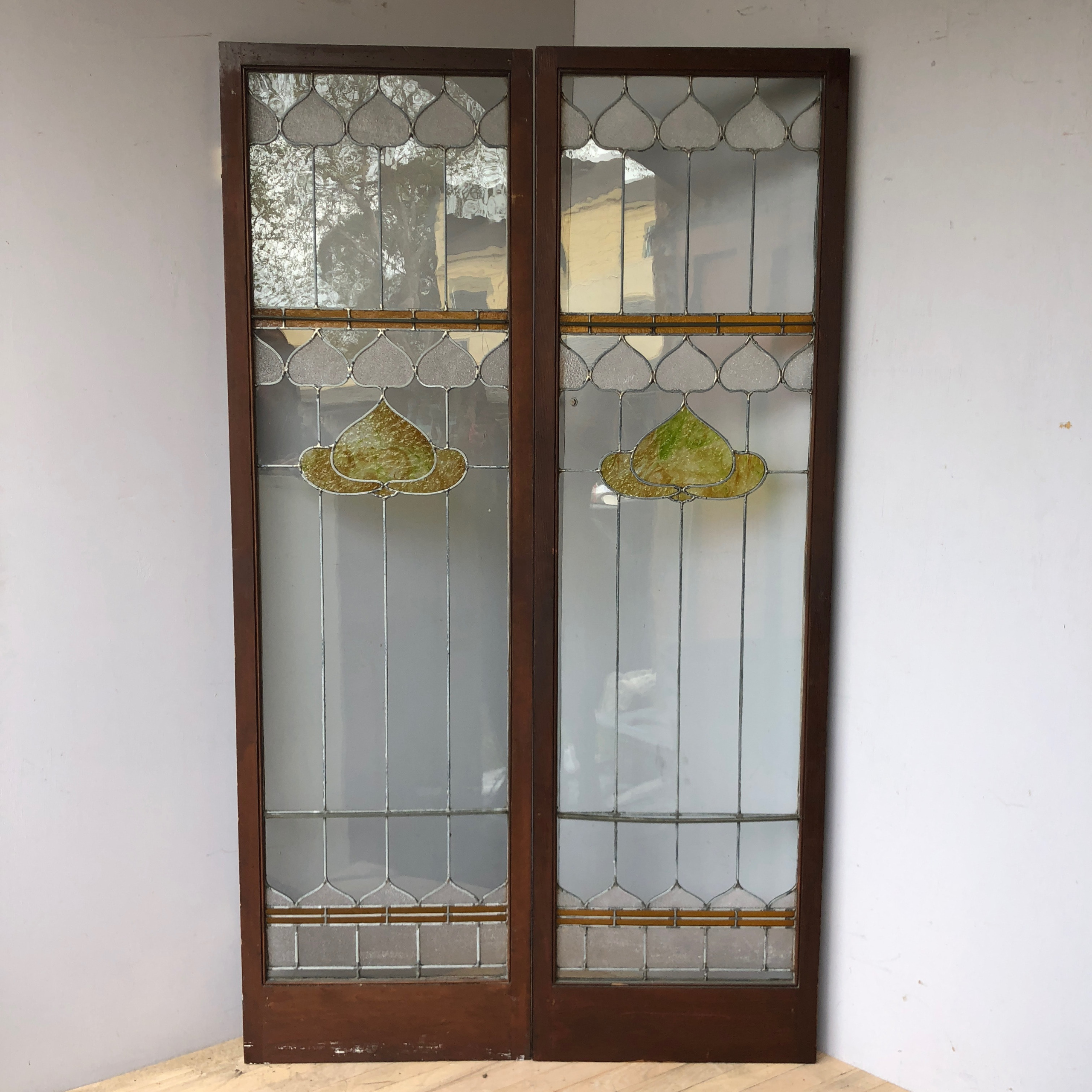 Pair Arts Crafts Style Stained Glass Cabinet Doors