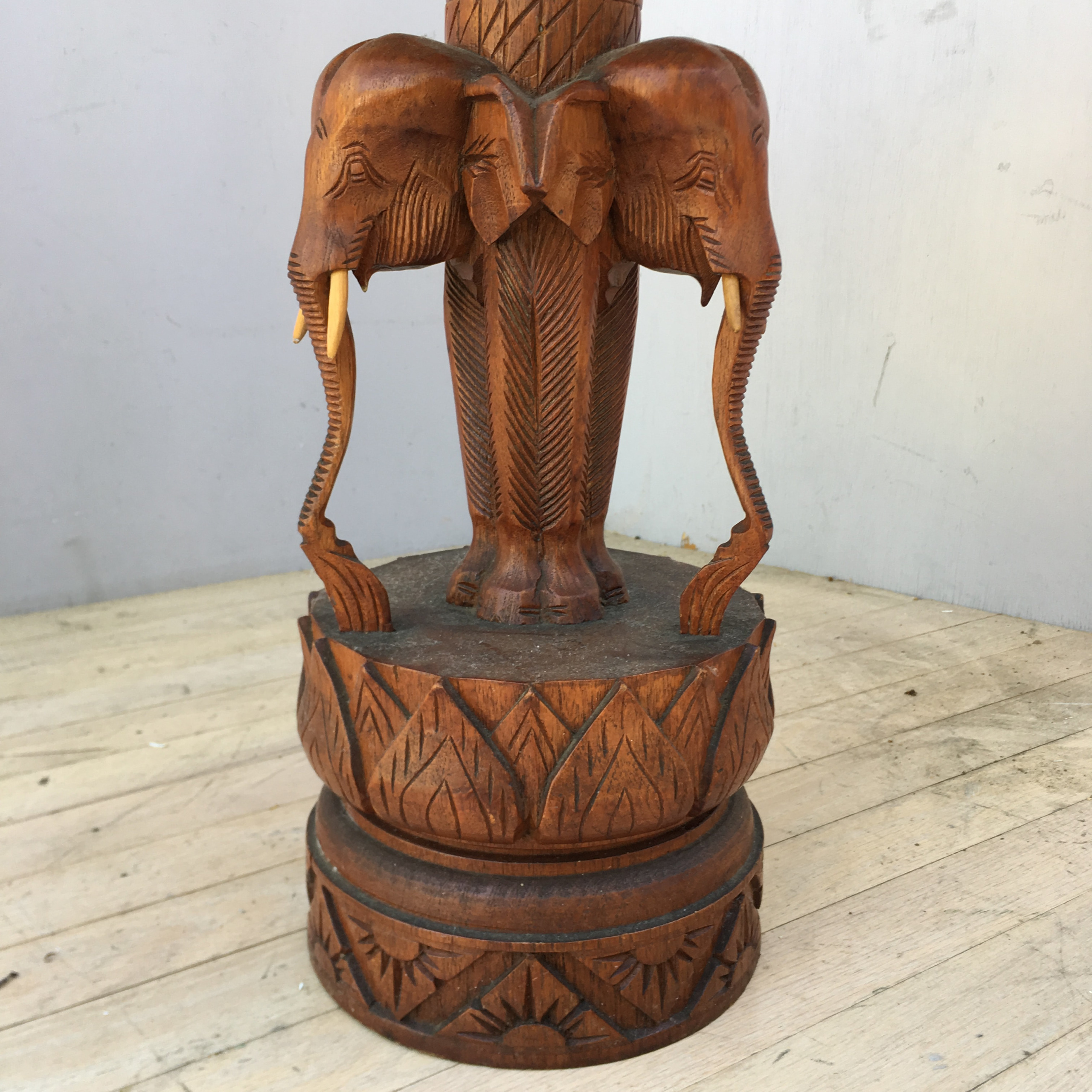 Hand Carved Elephant Chess Table