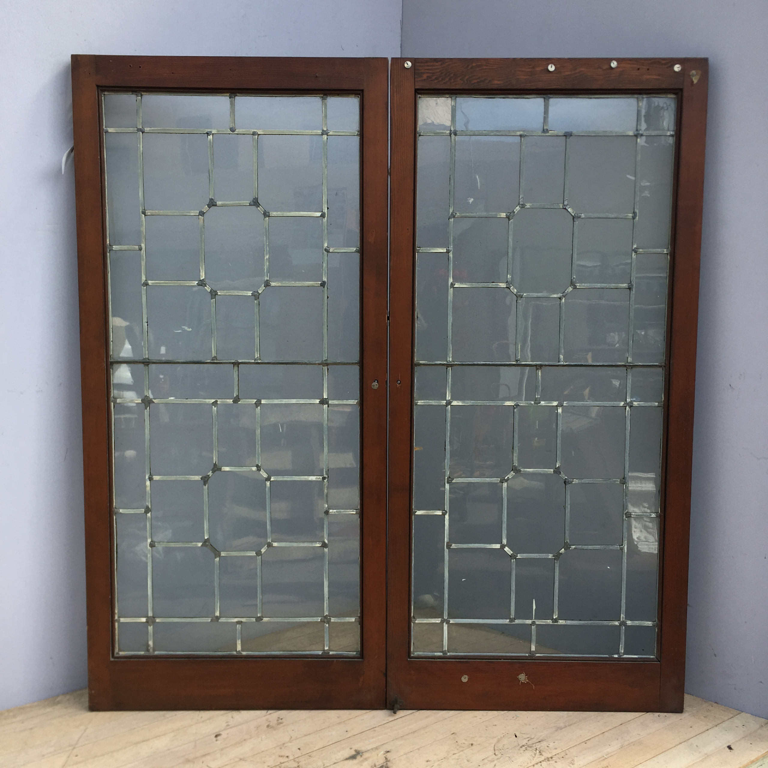 Pair Leaded Doug Fir Cabinet Doors