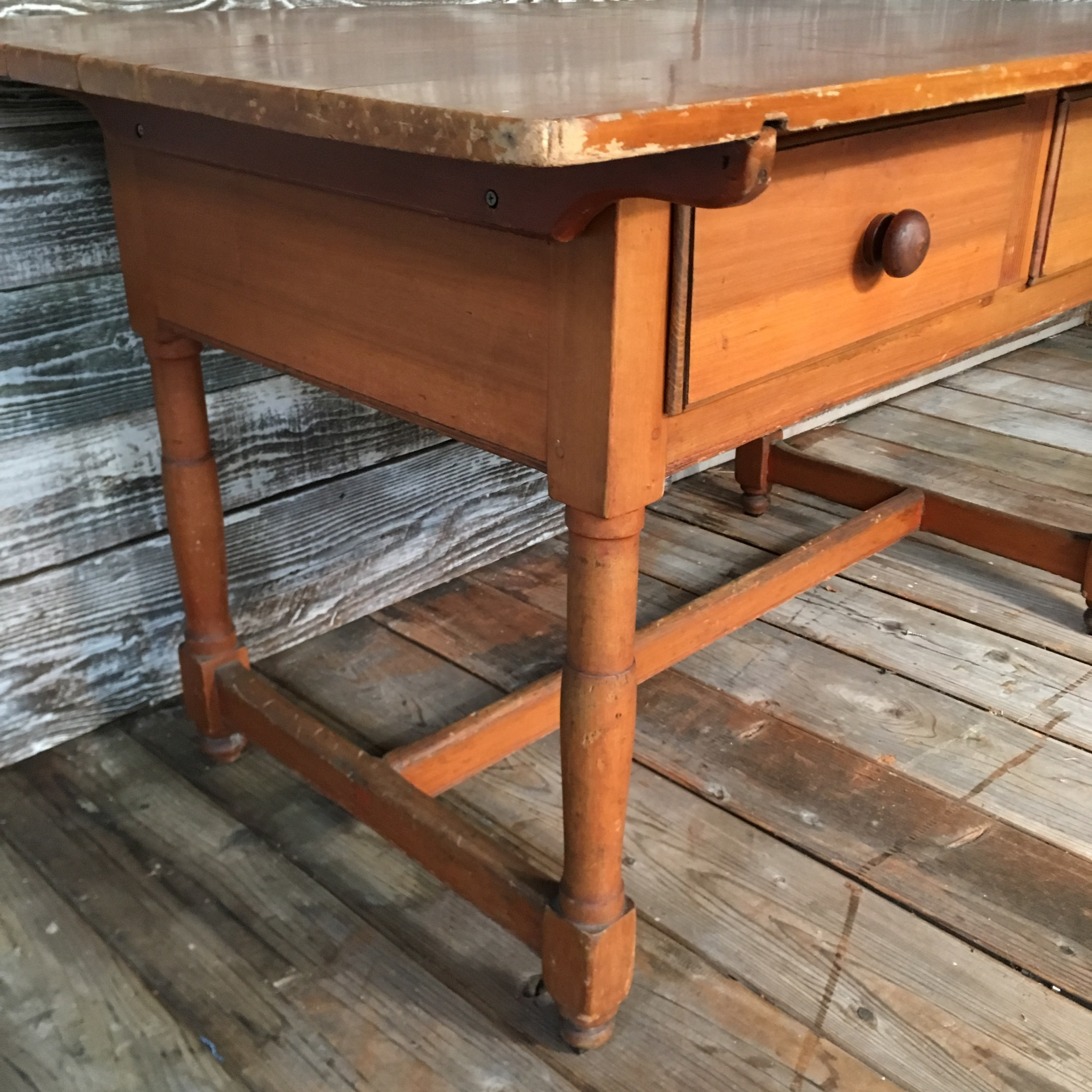 Farmhouse Kitchen Table With Drawers: Farmhouse Table W/ 2 Drawers