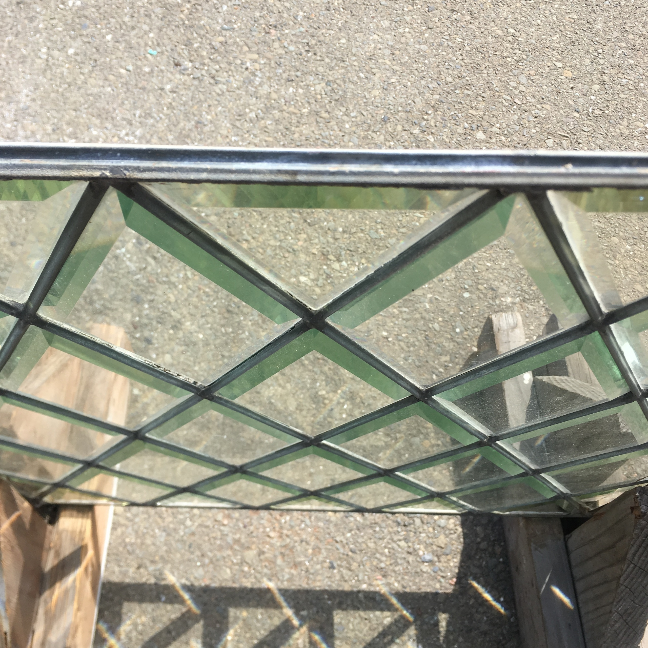 Beveled Diamond Pane Leaded Glass Window