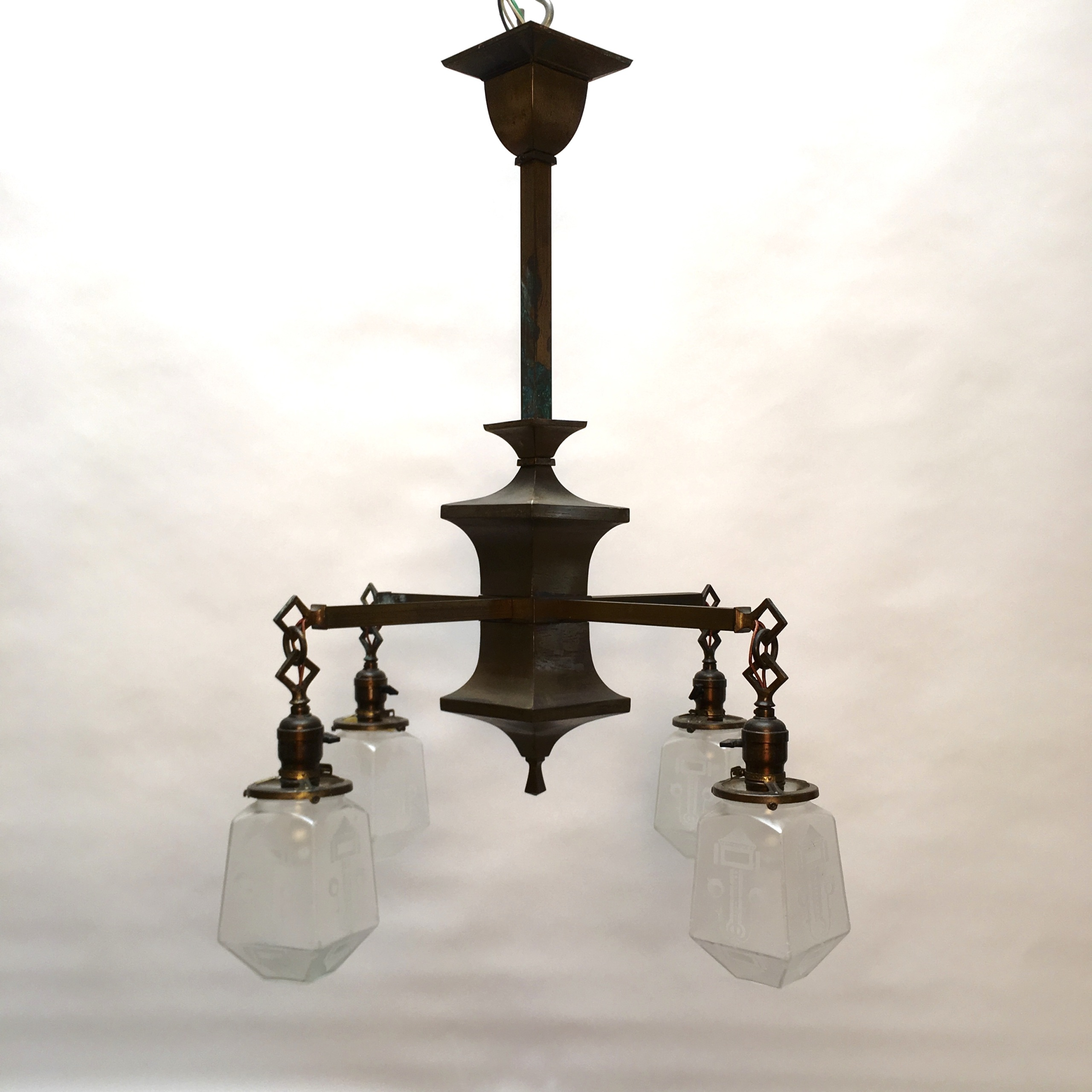4 Arm Craftsman Chandelier SOLD