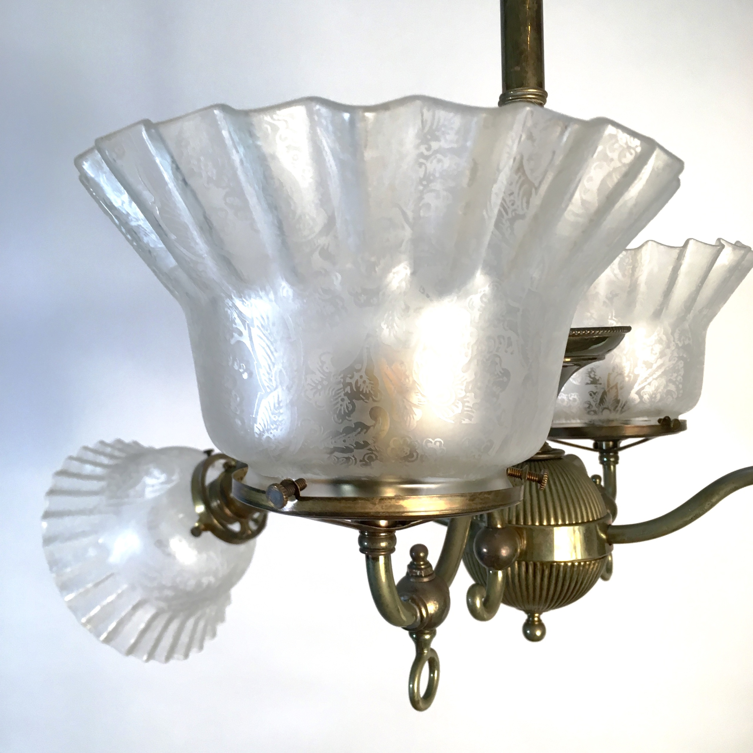 Gas Electric 4 Arm Chandelier Sold